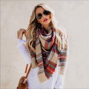 ❗️2 LEFT❗️Plaid Oversized Cashmere Blanket Scarf G